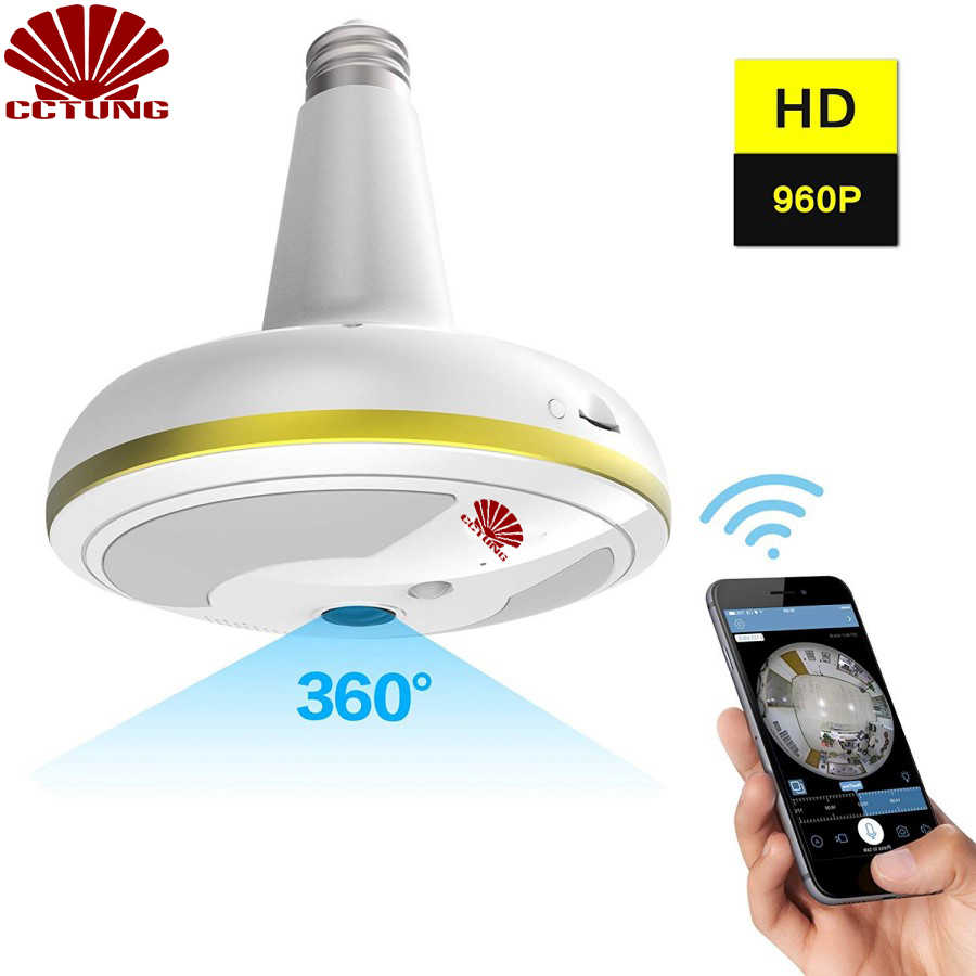 Wireless WiFi Security Camera Light Bulb Home Security System 360 Degree with Motion Detection/Night Vision for IOS Android APP