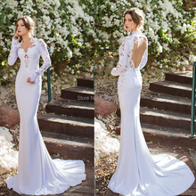 Sexy Vestido De Noiva High Neck Sheer Lace Long Sleeve Mermaid Julie Vino Wedding Dresses 2014
