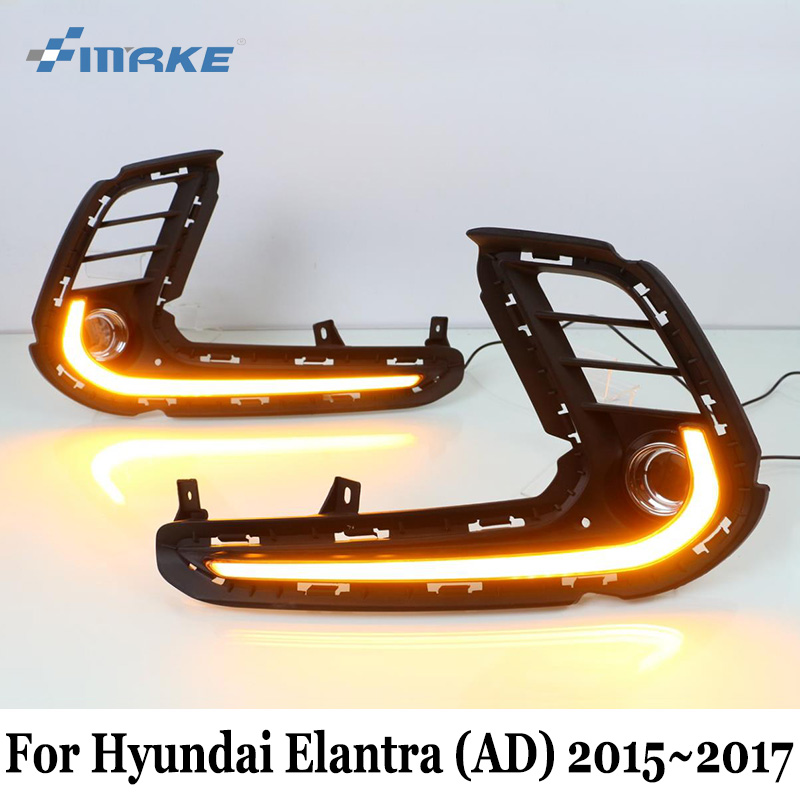 SMRKE DRL For Hyundai Elantra AD 2015~2017 / Car Daytime Running Lights With Cornering Signal Lamp / Two-colour Car Styling smrke drl for hyundai santa fe dm 2012 2015 car daytime running lights with fog lamp frame two colors light guide car styling