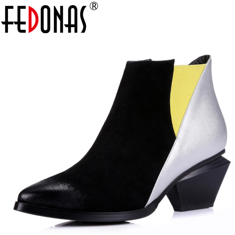FEDONAS Hot Autumn Winter Women Boots Sexy Patchwork European Ladies Shoes Woman Martin Boots Cow Suede Leather Ankle boots