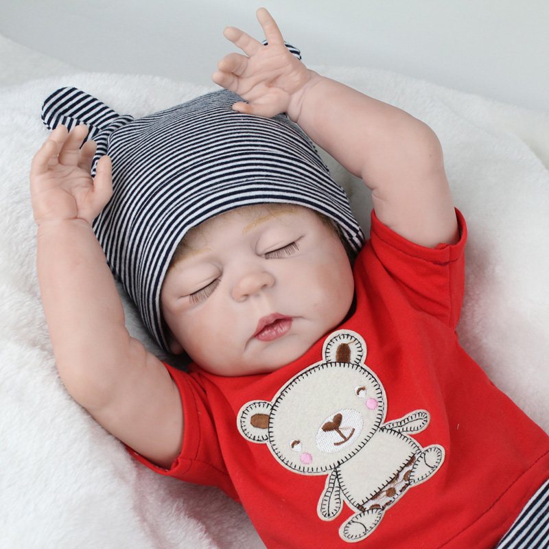 22 Inches Baby-Reborn Doll 55cm Eyes Closed Full Silicone Reborn Dolls Sleeping Baby Toys For Kids Girls Birthday Gift Toys