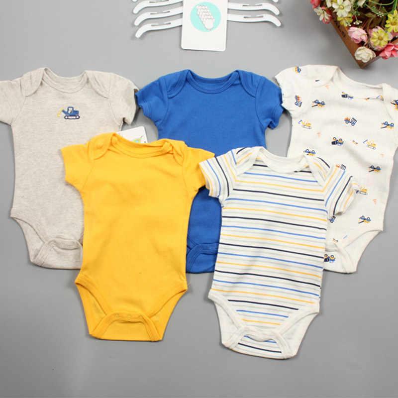 Liquidación, venta de 5 unidades por lote, ropa de manga corta para bebés, Unisex, al azar, 100% algodón, ropa para niña de 0 a 12M, Mono para recién nacido