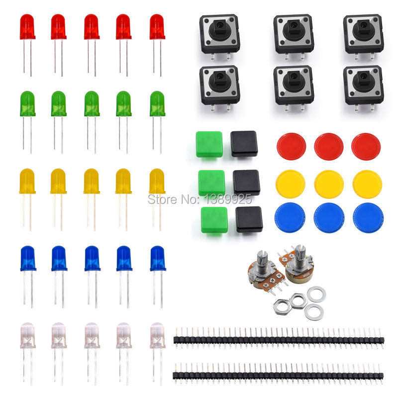 Free Shipping!Electronics Component Pack With Resistors, LEDs, Switch, Potentiometer For Arduino UNO, MEGA2560, Raspberry Pi