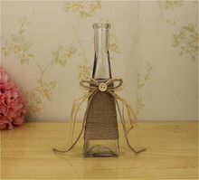 Microstomia trigonometric rustic vase transparent glass hemp rope vintage countertop decoration