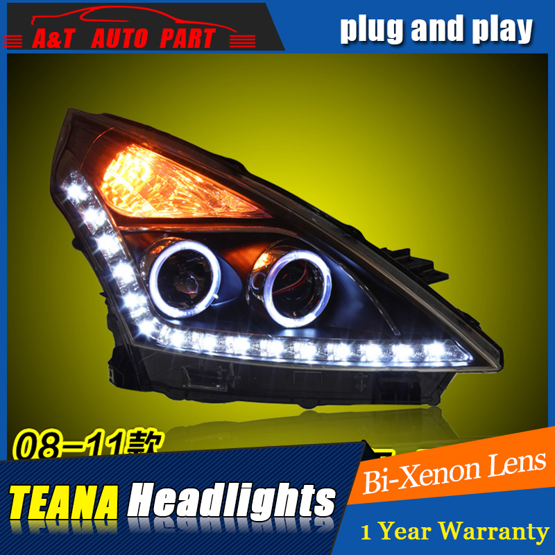 Car Styling For Nissan TEANA ALTIMA led headlight assembly 08-12 head lamp Angel eye led DRL front light h7 with hid kit 2pcs. car styling headlight assembly 2005 2007 for ford focus doubleu angel eye led drl lens double beam h7 hid kit with 2pcs