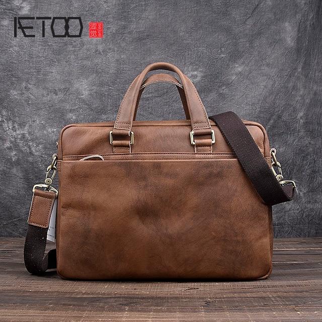 Aetoo Handmade Retro Men S Shoulder Bag Genuine Leather Computer Messenger Casual Handbag