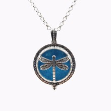 Dragonfly Vintage Silver Aromatherapy Necklace Magnetic Closure Locket Essential Oil Diffuser Pendant Necklace Jewelry Gifts