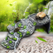 Turtle Drying Climbing Platform Turtle Tank Floating Island Resin Rockery Pet Reptile Hide Cave Tortoise Sun Roof Terrace CW101
