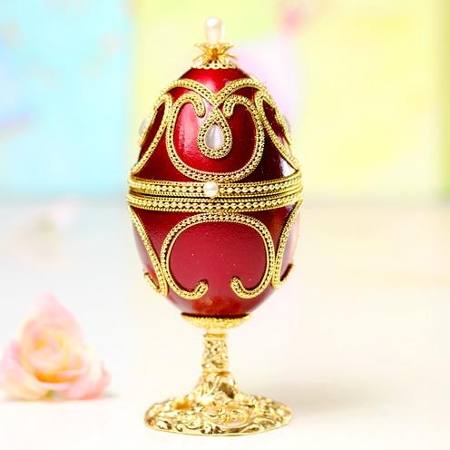 Rouge Royal Faberge oeuf boîte à musique bijoux boîte à musique anneau boîte à musique cadeau d'anniversaire pour les filles mariées Souvenir