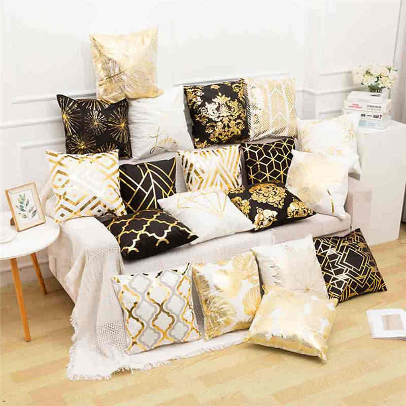 Polyester Gold Letter Pillow Case Cover Sofa Car Waist Cushion Throw Pillow Fashion Camouflage Absorb Sweat Pillows Faux 19APR29