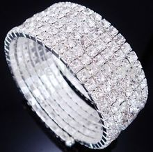 6 Row Silver Tone Rhinestone Crystal Adjustable Stretch Wedding Bangle Bracelet wholesale 12pcs bracelets