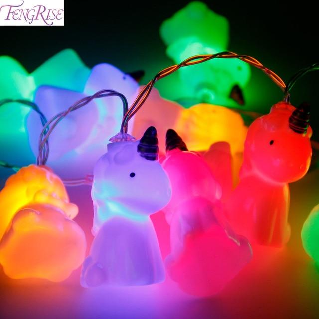 FENGRISE 10pcs Cute Unicorn Head Led String Lights Baby Room Background Decor Shower Birthday