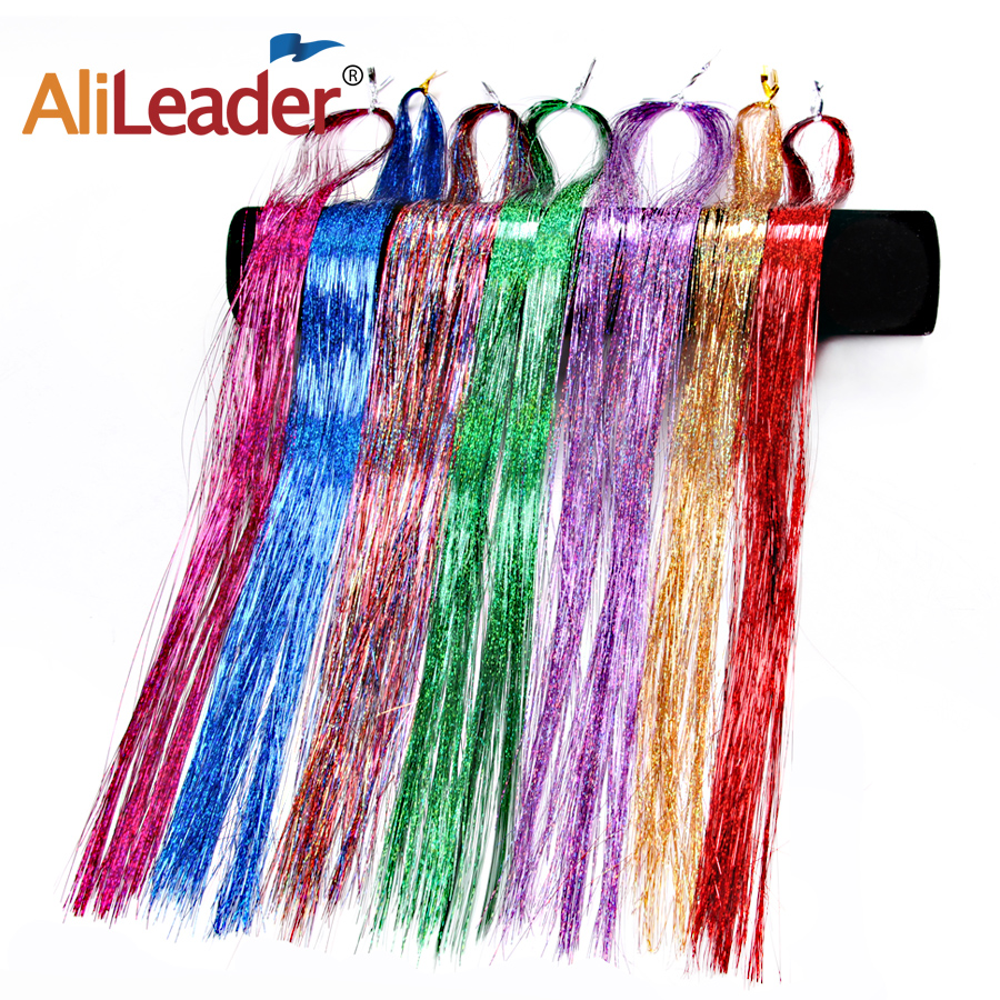 Gold Silver Colorful Sparkel Shiny Effect Synthetic Hair Extension Hair Tinsel Hair Weaving Decoration Floss Crafts DIY