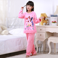 Discount Winter 2Piece/Sets Girl Sleepwear Cartoon Lovely Pajamas Pure Fannel Warm Long Sleeve Pijamas Child Home Wear Clothing
