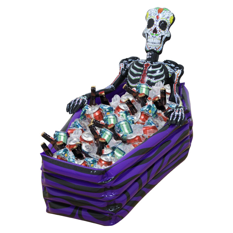 Large Outdoor Inflatable Skeleton Coffin Drink Cooler Ice Buckets Skull PVC Inflatable Toys Halloween Swimming Pool Accessories