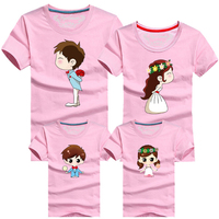 2017 Summer Matching Clothes Family Look T Shirt Cartoon Bride Bridegroom Father Mother Kids Outfits 4Pcs