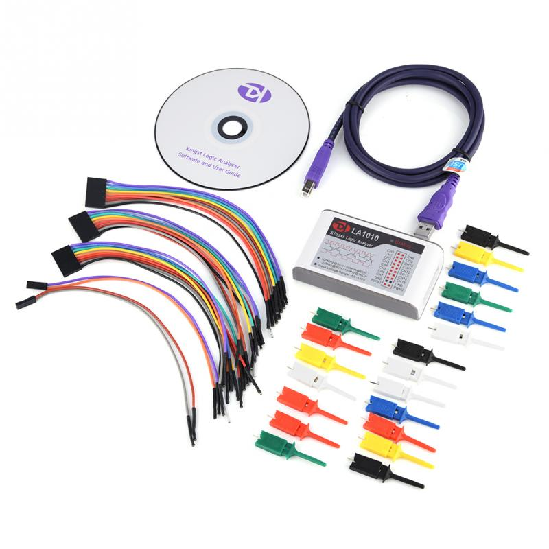 LA1010 USB Logic Analyzer 100M Max Sample Rate 16 Channel MCU/ARM/FPGA Debug Tool usb logic analyzer scm 24mhz 8 channel 24m seconds logic analyzers debugger for arm fpga usb cable dupont cable
