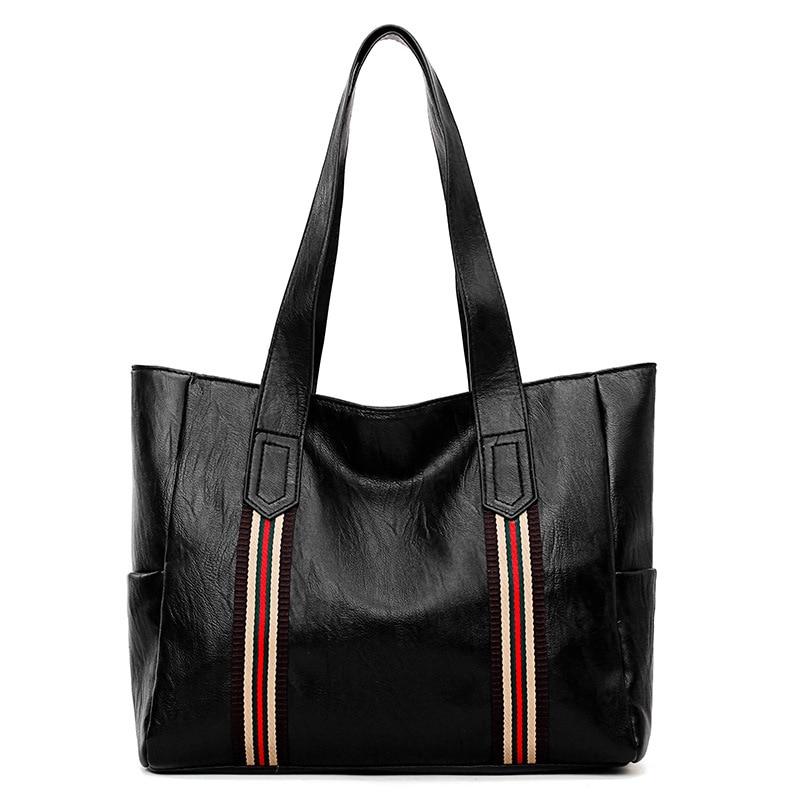 2018 New Handbag PU leather Panelled stripes woman bag beach bags simple shoulder bags for women black handbags Tote bag ladies цена