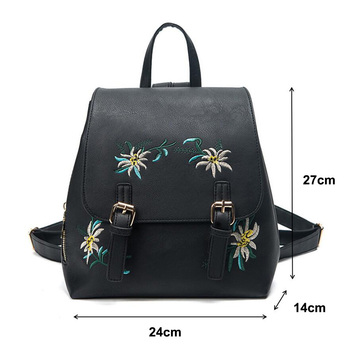 DXYIZU Brand Women Leather Backpacks Female School bags for Girls Rucksack Small Floral Embroidery Flowers Bagpack Mochila 2018