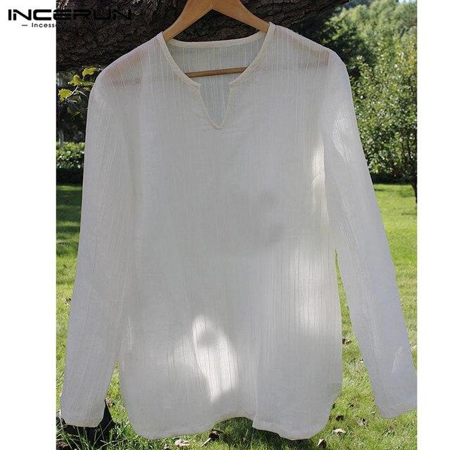 promo code c096d c1dc4 Mode 5XL Männer Shirts Langarm T shirts V Neck Tee Tops Kleidung Hombre  Camisa Casual Herbst INCERUN 2019