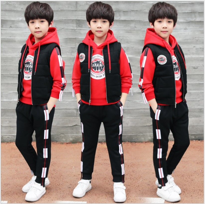 Boys Boutique Outfit 2017 Winter Thicken 3-piece Children Sports Suit Teenage Hoodie Tracksuit Red Girls Clothing Sets 13 Years 2015 new arrive super league christmas outfit pajamas for boys kids children suit st 004