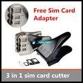 1 pçs/lote Unviersal 3 em 1 sim card cutter micro sim corte ferramenta nano cortador de cartão para o iphone 5S sim cards cutters Frete grátis