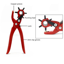 New 9'' Sewing Leather Belt Hole Puncher Pliers Hook Clamp 2/2.5/3/3.5/4/4.5MM Punch Size For Punching Hole Forceps Punch Head