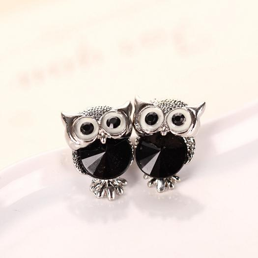 SHUANGR Brand Jewelry Crystal Owl Stud Earrings For Women Vintage Gold-Color Animal Statement Earrings Brincos