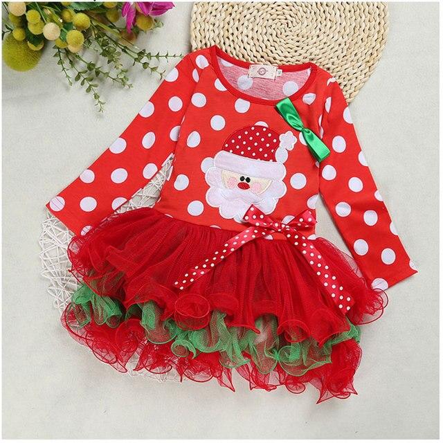 b3af1c7e4bd Enfants à manches longues Nova robe filles robes de noël arc enfants fête robes  rouges enfant