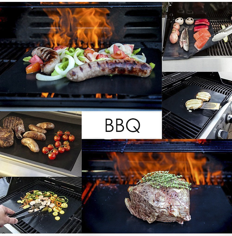 idearspace 3pcs lot Non stick BBQ Grill Mat barbecue Mat Teflon baking Grilling met bbq accessories Easily Cleaned Kitchen Tools in Meshes from Home Garden