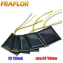 10 Pçs/lote 2V 130mA Policristalino Do Painel Solar Pequeno Mini Célula Solar Carregador de Bateria Do Painel de Células Solares Para DIY Estudo CONDUZIU a Luz