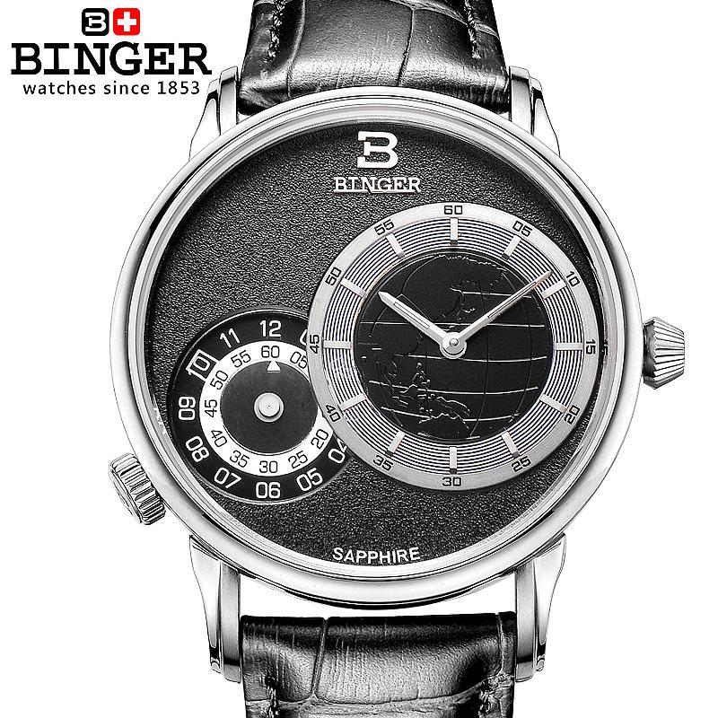 Switzerland watches men luxury brand Wristwatches BINGER 18K gold quartz leather strap waterproof BG-0389-3 wristwatches luxury brand men quartz gold watch sapphire leather strap watches men 12 month guarantee bg0389
