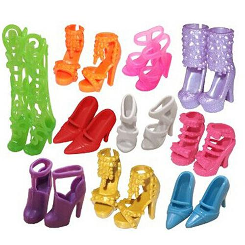 10 Pairs Fashion Assorted Different Shoes Boots for Barbie Doll Girls Toy Gift ...