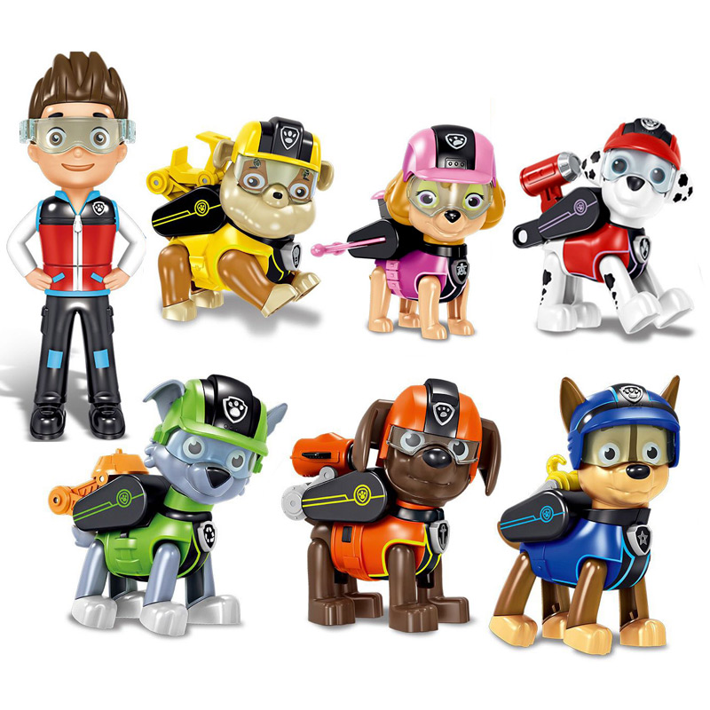 Paw Patrol Action Pack Pups 7pk Figure Dolls Set Mission Paw Toys  Ryder Marshal Skye Rubble Rocky Chase Anime Model Kids Gift
