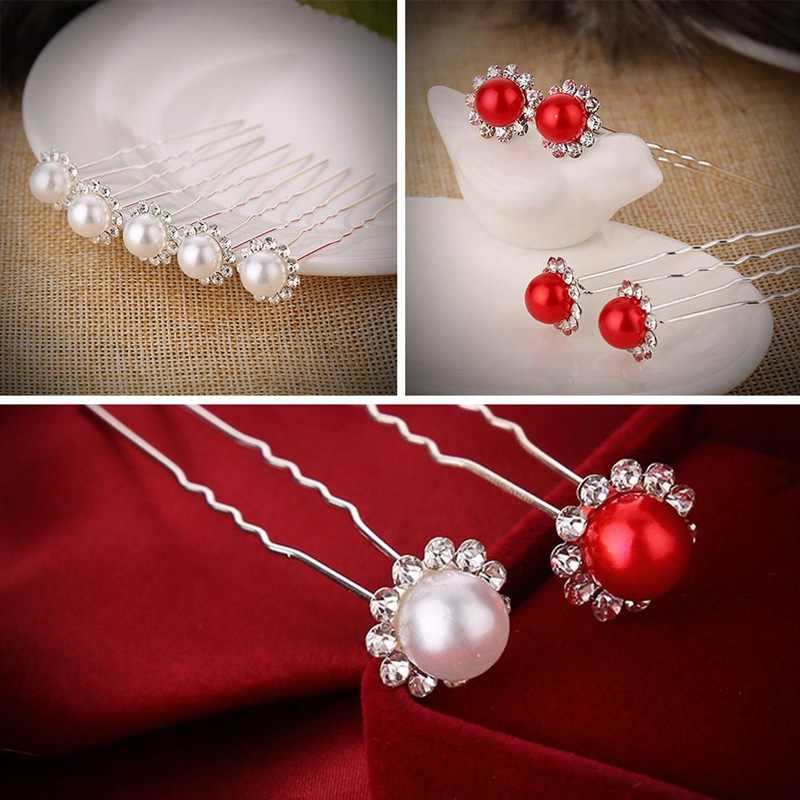 1Pc  Hair Clip Women Head Wear Wedding Accessorie Head Sticks Headpiece Five-petal Flower Pearl Hairpin