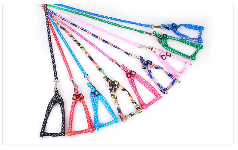 Adjustable Nylon Dog Leash and Harness Set for Small Dogs Cats Colorful Printed Dog Chest Straps Traction Rope Pets Leash Belt (9)