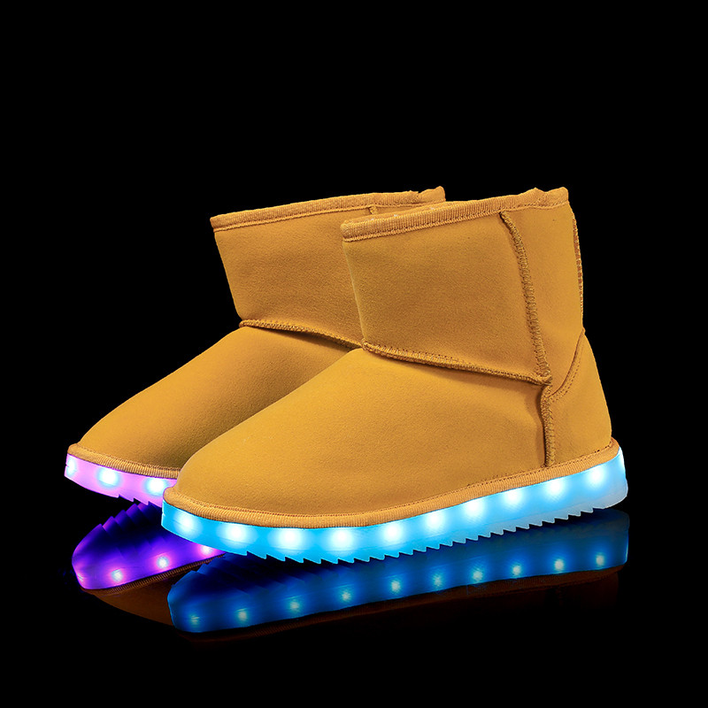 ФОТО LED Shoes ugs woman snow boots  Light Up Luminous high top shoes warm boots plush winter Superstar Hot Fashion colorful Casual