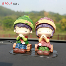 E-FOUR Cute Doll Car Ornaments Chinese Traditional Artistic Porcelain Popular Fashion Style Home Office Decoration for gift