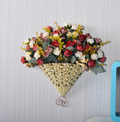 A06 Home decoration artificial plant Fan hanging wall basket flower ...
