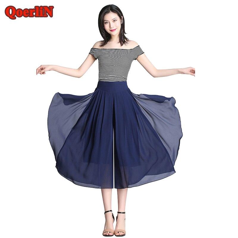 QoerliN 2018 Summer Chiffon   Wide     Leg     Pants   Skirt High Waist Loose Casual Big Size Office Mesh Fashion Elegant Palazzo Trouser