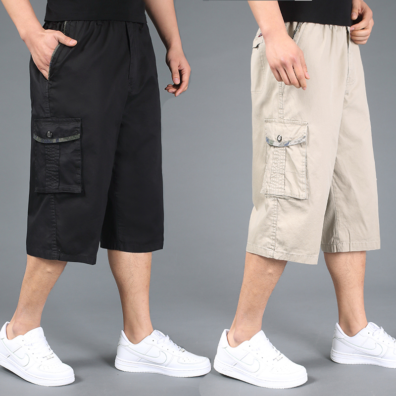 Free shipping summer plus size men shorts xxl 4xl 5xl 6xl cotton casual shorts khaki elastic waist short trousers hiphop large