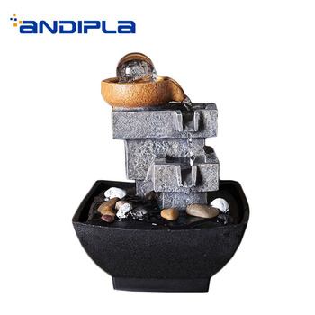 110/220V Creative Water Fountain Natural Synthetic Resin Feng Shui Waterscape Adornment Crafts Tea Ceremony Decoration Waterfall