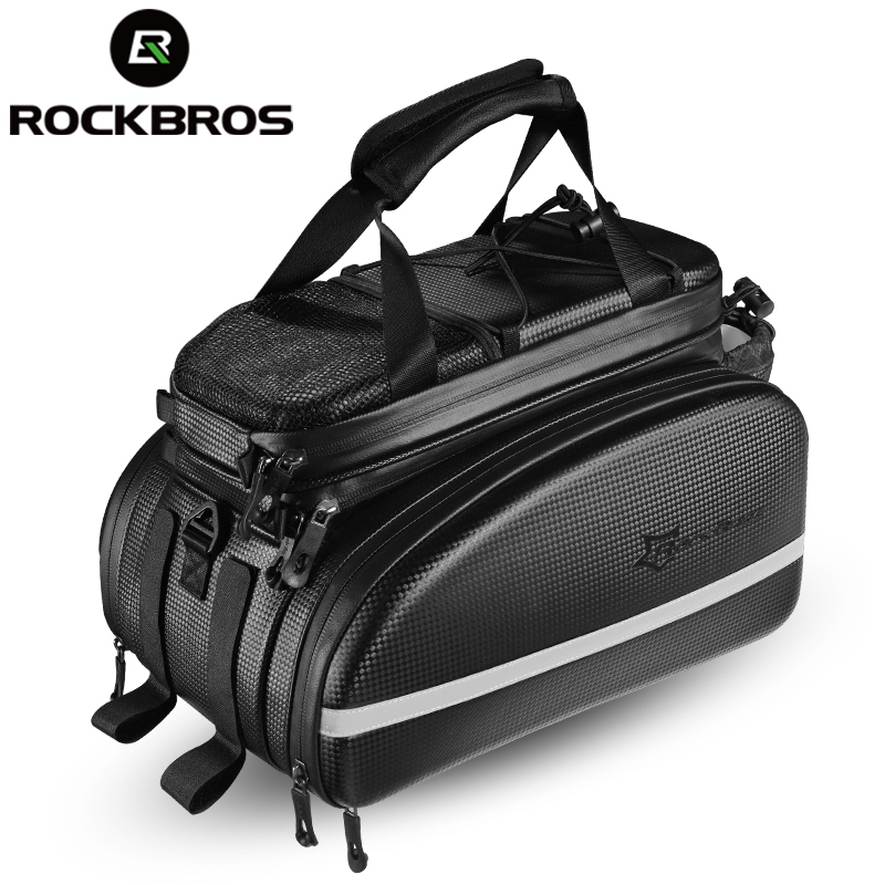 ROCKBROS Bicycle <font><b>Carrier</b></font> <font><b>Bag</b></font> MTB <font><b>Bike</b></font> Rack <font><b>Bag</b></font> Trunk Pannier Cycling Multifunctional Large Capacity Travel <font><b>Bag</b></font> With Rain Cover image