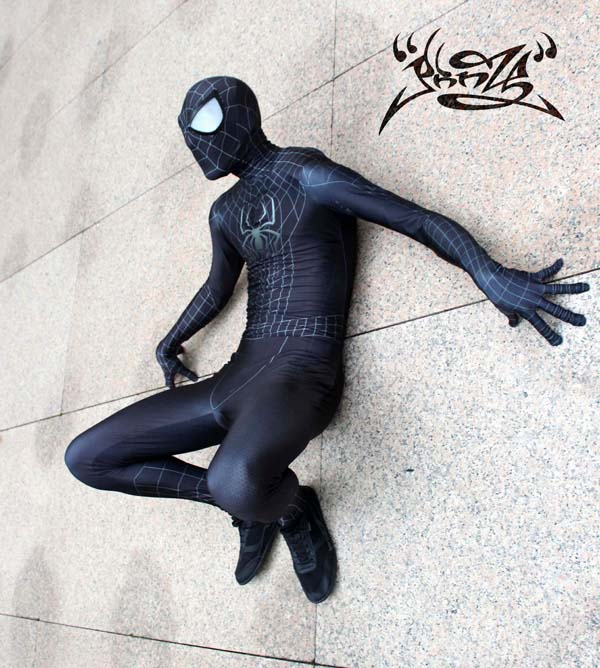 Человек паук 2 черный спандекс Хэллоуин концептуальные Человек паук Костюмы супергероев