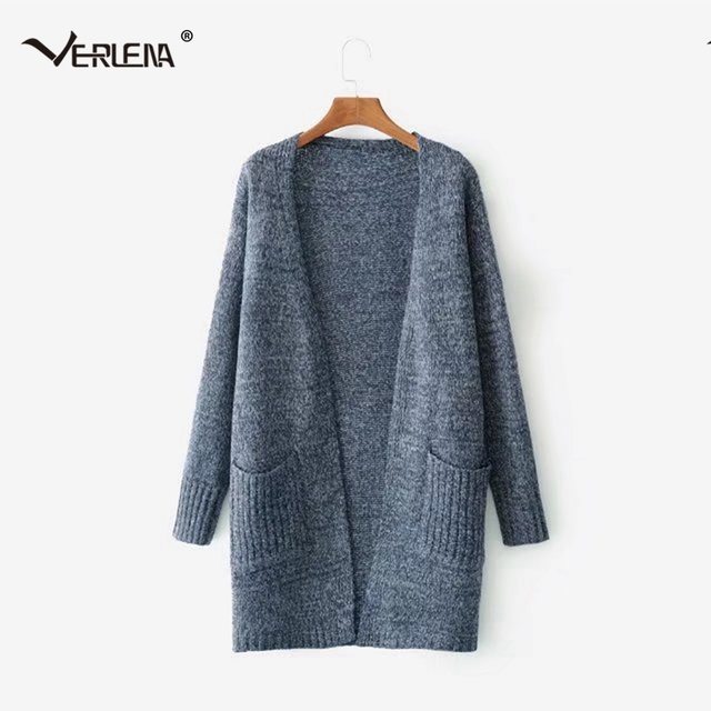 70a32aadf67870 Verlena 2018 Fluffy Heavy-Knit Long Cardigan Female Chunky Oversized Sweater  in 2 Pockets Women Warm Thick Vintage Sweaters Coat