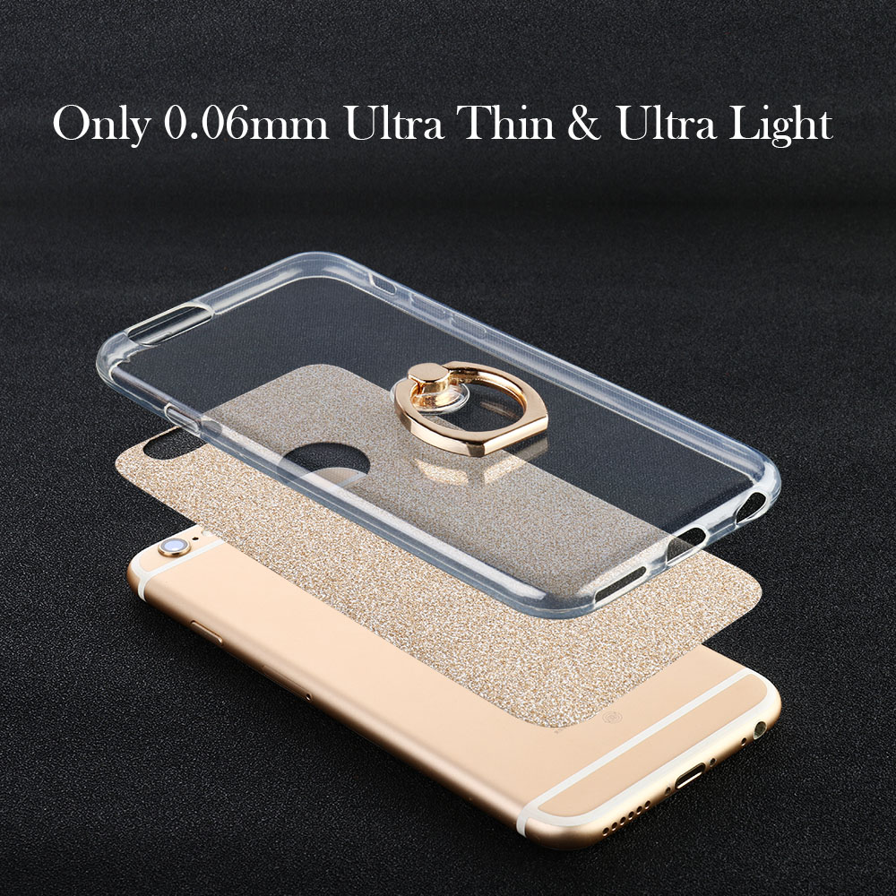 AKABEILA Case For Huawei Honor 9 Lite Case Glitter Silicon Finger Ring For Huawei Honor 9 Lite Cover KickStand Shell