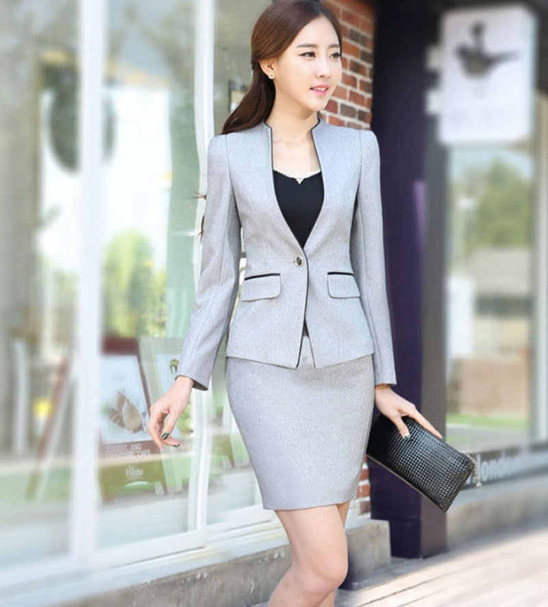 Printemps cou Longues V Suit Travail Manches Formelle Suit Costume gray Un Pantalon Femmes Ol Bureau W116 Automne Mince 2016 Suit Bouton Costumes black Pant D'affaires Skirt Entrevue Gray AO6dAq