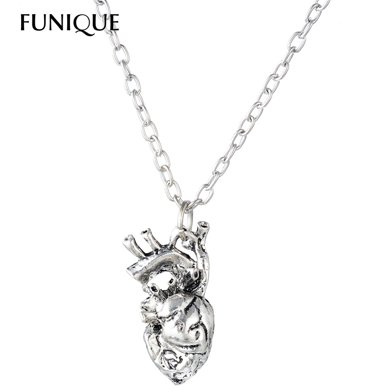 Funique Punk Anatomical Heart Necklace Vintage Anatomy Heart Pendant