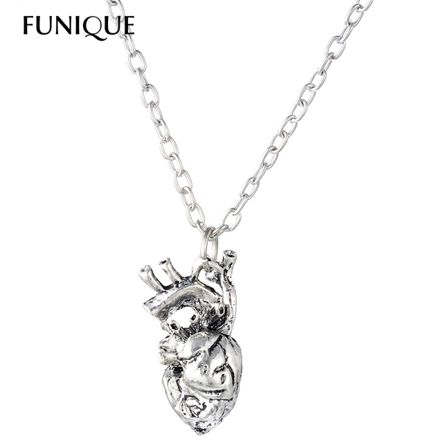 Funique Punk Anatomical Heart Necklace Vintage Anatomy Heart Pendant