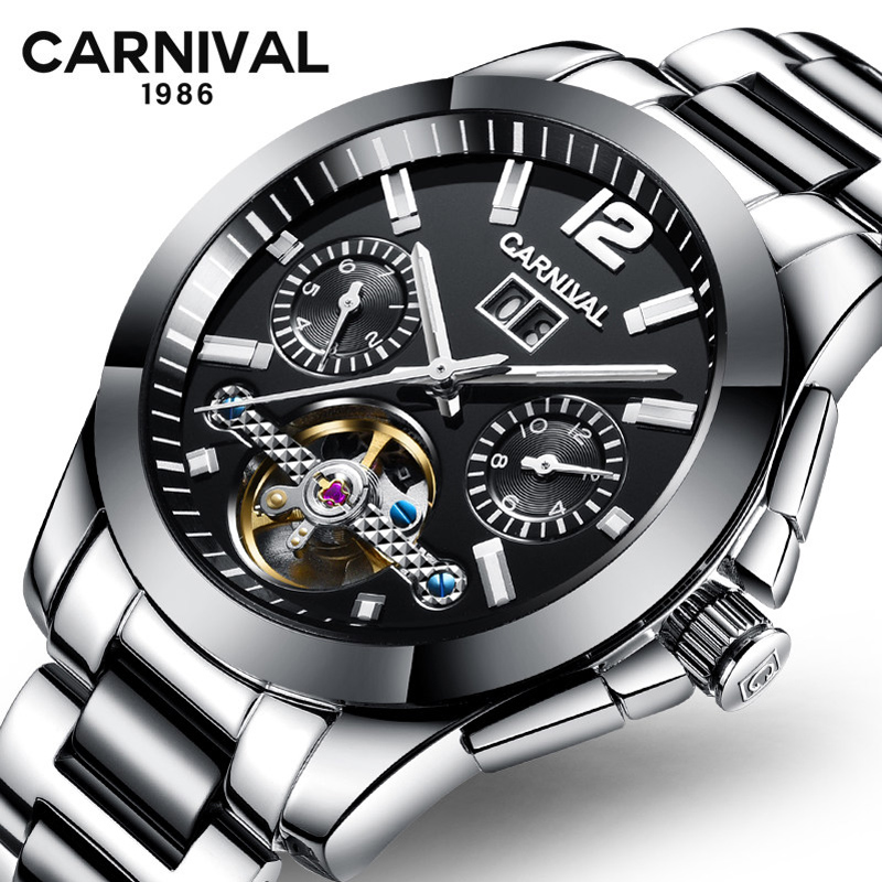 Carnival Tourbillon Mechanical Watch Men Stainless Steel Ceramic Strap Automatic Mens Watches Luxury Brand Clock montre